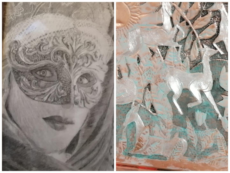 Peinture acrilique, au crayon ect.